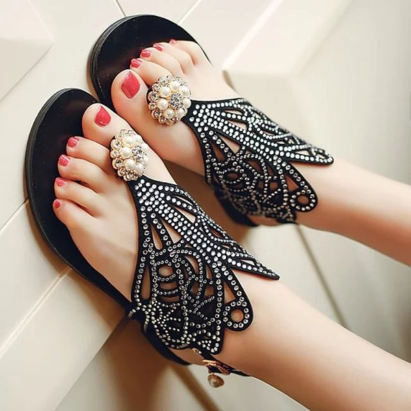 Fairy2019 Sandals Rhinestone Woman Toe Beach Sweet A String Of Beads Pearl Flower Flat Shoes