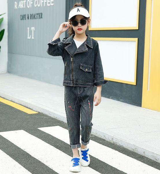 Kızlar denim suit 2019 yeni Kore uzun kollu yaka kısa çocuk ilkbahar ilkbahar ve sonbahar kız giyim yabancı gaz iki parça bez