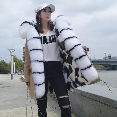 Frauen Winter Parkas weiß schwarz Gitter Fuchspelz Futter khaki lange Parkas mit weiß schwarz Fuchspelzbesatz