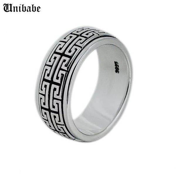 Cheap s Real Silver 925 Sterling Silver men women S925 Rotate Vintage Ring Jewelry gift Great Wall Movable S925