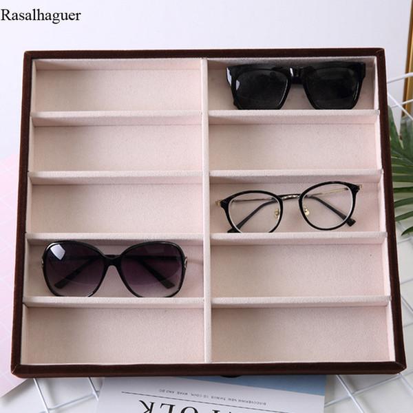 Bege De Veludo 10 Grids Óculos de Sol Caixa de Exibição Óculos de Sol de Exibição de Exibição de Jóias Embalagem Organizador de Jóias Bandeja Moda Casos