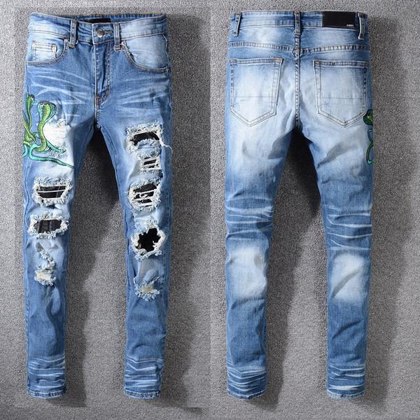 Мужские голубые змееподобно Вышитые джинсы Holes Популярные моды Brand Jeans Амири высокого качества класса люкс Дизайнерские джинсы