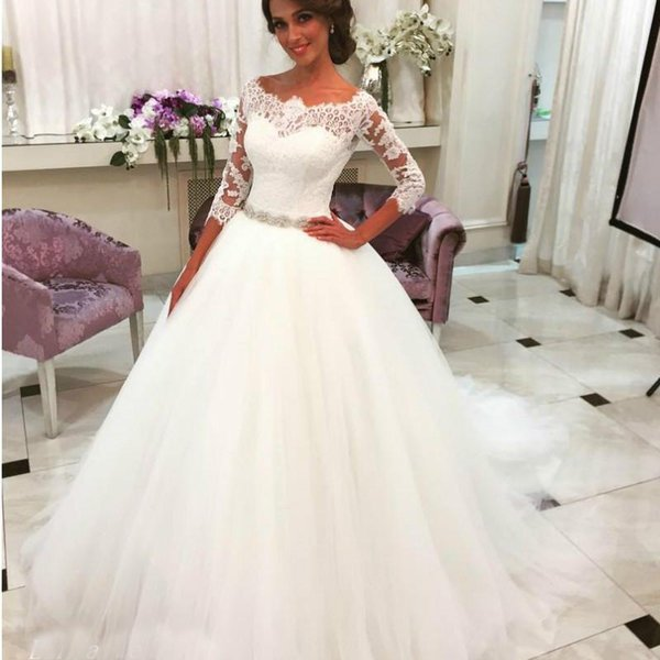 Romantic White Wedding Dresses Ball Gown Tulle Lace Long Dream Princess  Bridal Party Gowns Plus Size Wedding Gowns Casual Wedding Dresses Fashion  ...