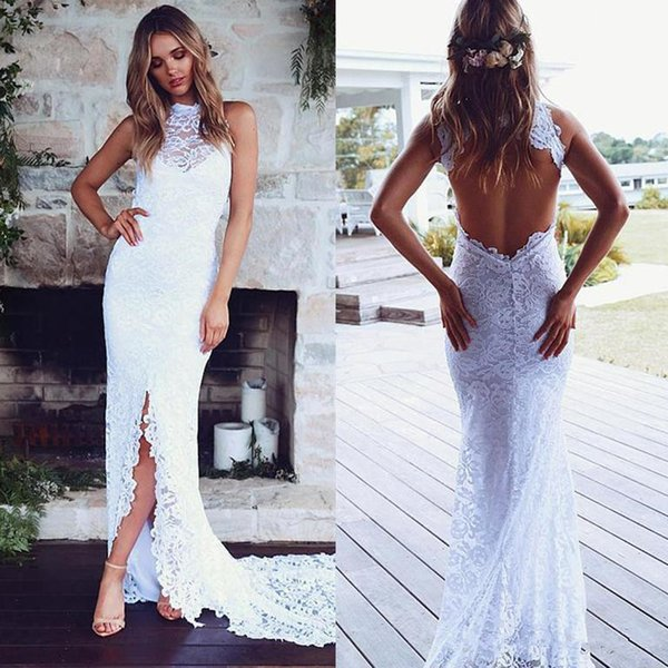 Sexy Open Back Mermaid Wedding Dresses Front Slit Full Lace 2019 Long Fishtail Beach Boho Bridal Gowns Cheap High Neck Country Bride Dress