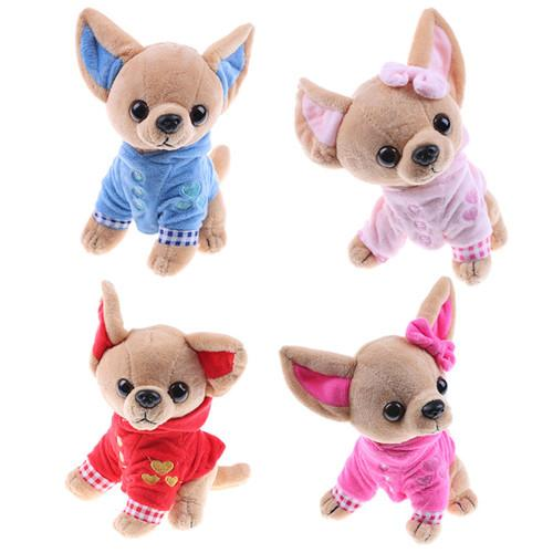 1pcs Cute Stuffed Dog Plush Toy 17cm Chihuahua Puppy Kids Toy Kawaii Simulation Animal Doll Birthday Gift for Girls Children