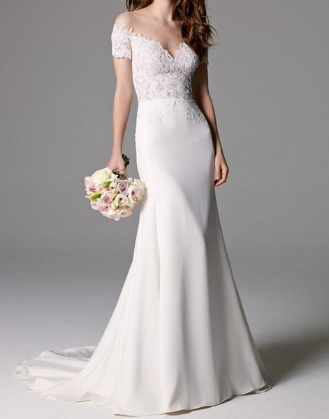 Fit to Flare Wedding Dress Illusion Lace Bodice Off the Shoulder Short Sleeve Satin Bridal Gown Classic Gorgeous Sheer Back