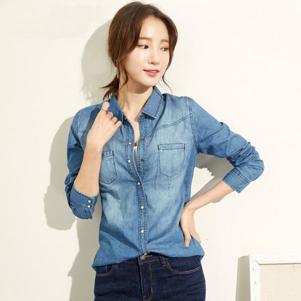 Bleu à manches longues Denim Casual Shirt Femme Mesdames Bouton Shirt Plus Size Fashion Jeans Shirt Camisa Xz118