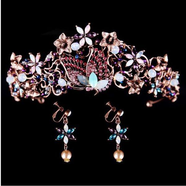 Neue Klassik Schönheit Historisch, Gold, West BrautTiara Retro-Kronen-Tiara-Ohrringe stellen exotischen Stil Schmuck