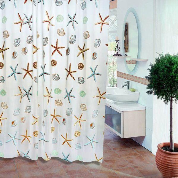 180x200cm PEVA Bathroom Curtain Shower Curtains Waterproof Mildewproof Bath Curtain with Plastic Hooks