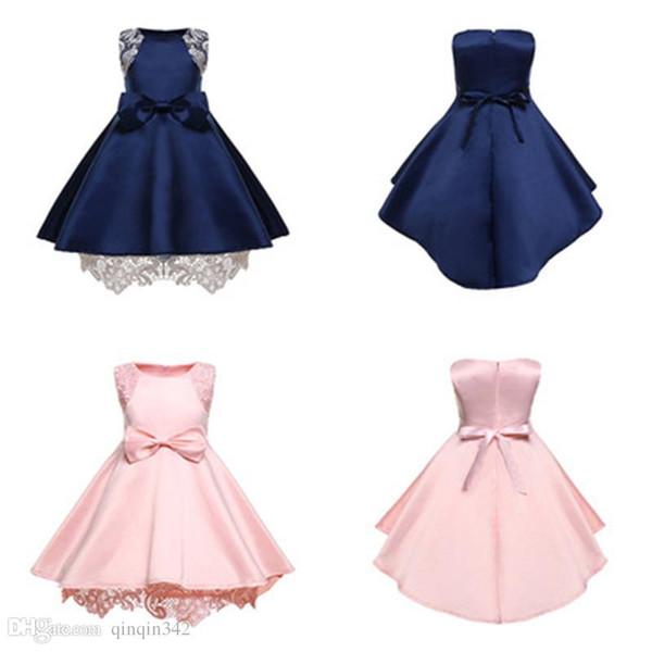 2019 nouveaux vêtements bleus roses Kids Designer Clothes robe de soirée arc fille fille princesse robe robe d'Halloween