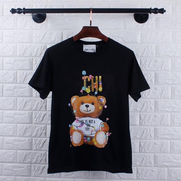 19SS La Nueva Temporada Oso Patrón de Impresión de la Camiseta de Las Mujeres Más Vendidas Beart Camisa de Algodón Puro Casual Mujer Diseñador Camisetas