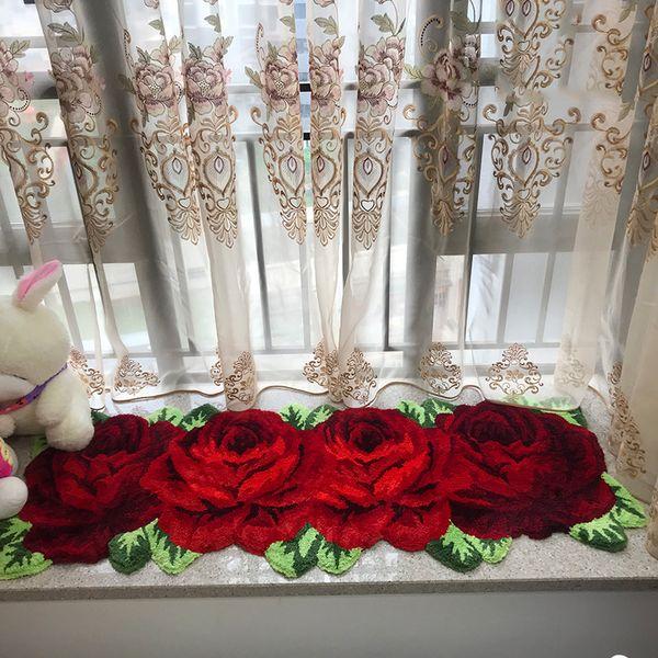 acrylic thick 4 rose art rug for bedroom/bedside art carpet romantic rose hallway bath mat parlor rug livingroom tapete 165*70cm