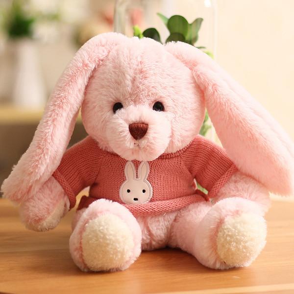 Lindo suéter sentado conejo juguetes de peluche muñecas de niña lindas muñecas de conejito lindas regalos de cumpleaños al por mayor 03