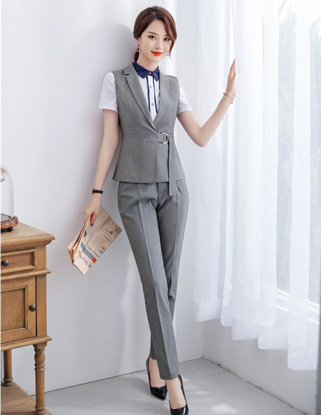 Formal Das Senhoras Cinza Colete Colete Mulheres Pant Ternos Conjuntos de Desgaste do Trabalho Roupas de Negócios Uniforme Escritório Estilos