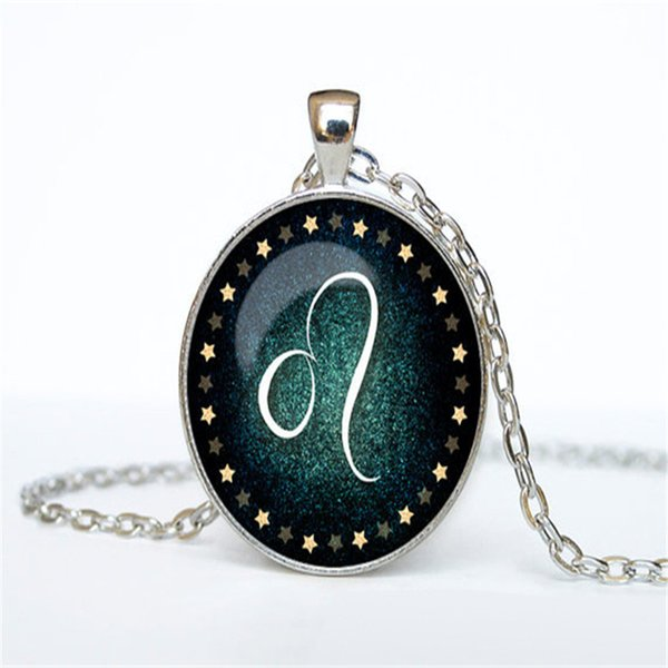 Silver Color 12 Constellations Zodiac Leo Time Gem Glass Cabochon Statement Necklaces & Pendant For Women Men Long Link Chain Choker Jewelry