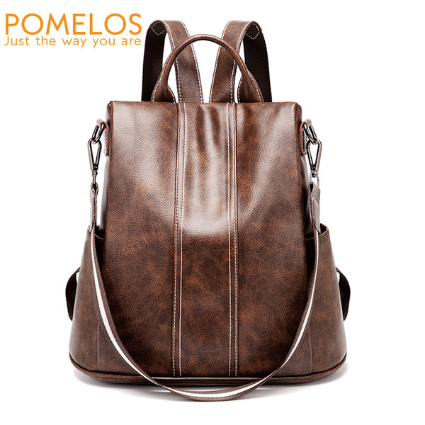 Pomelos Backpack Women 2019 New High Quality Pu Leather Fashion Backpack For Women Urban Girls Functional Anti Theft Backpack Y19052202