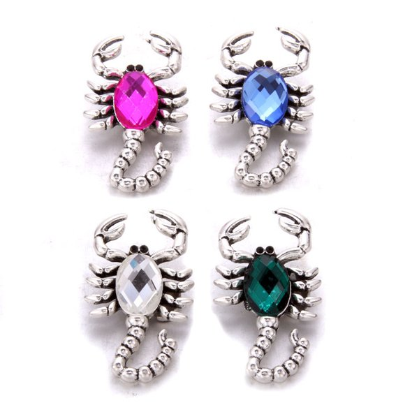 Vintage Silver Punk Skull Rhinestone Snaps Buttons Charms Fit 18mm Snap Jewelry
