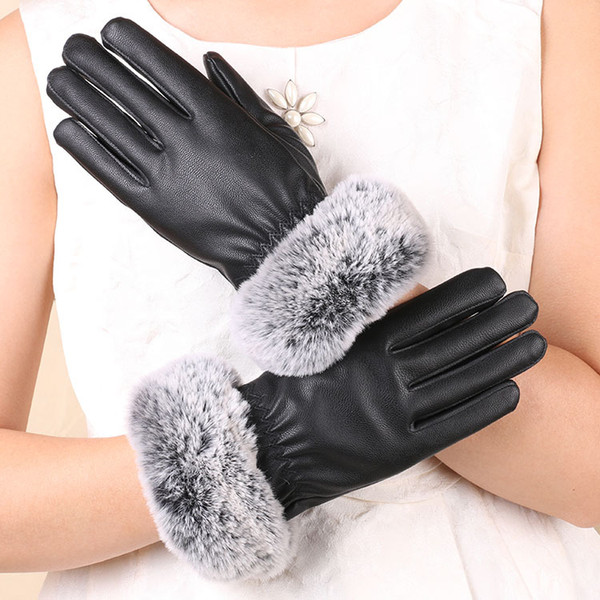 New autumn and winter imitation rabbit fur mouth PU leather ladies touch screen gloves driving riding warm gloves manufacturers wholesale
