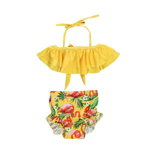Summer Kids Swimwear Baby Girls Flamingo Bikini Suit Swimwear Bathing Suit Casual Beachwear Girls Clothing Set Children Swimsuit