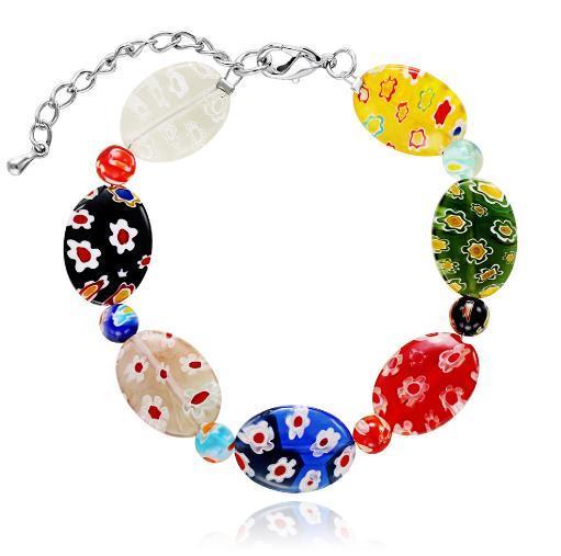 Farbige Glasur Charm Armband Edelstahl Gliederkette Oval Multi Blume Armband Handmake Freund Liebhaber Perle Frauen Modeschmuck Geschenk Neu