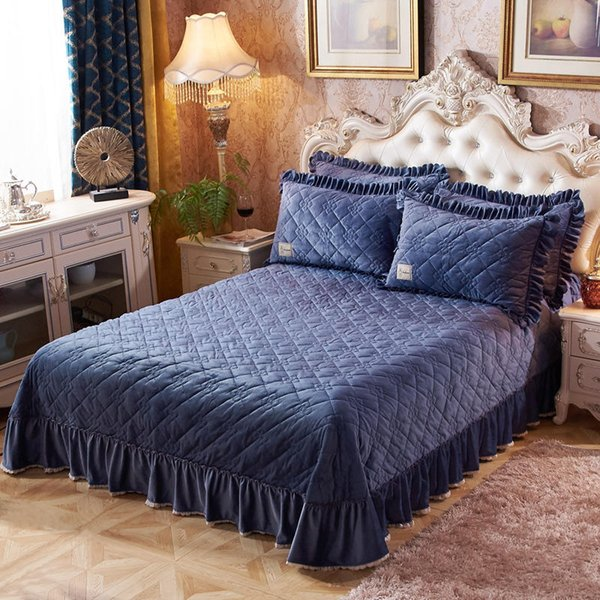 navy blue soft warm fleece quilted bedspread coverlet quilt king queen size ruffled bedspread bed cover pillow shams