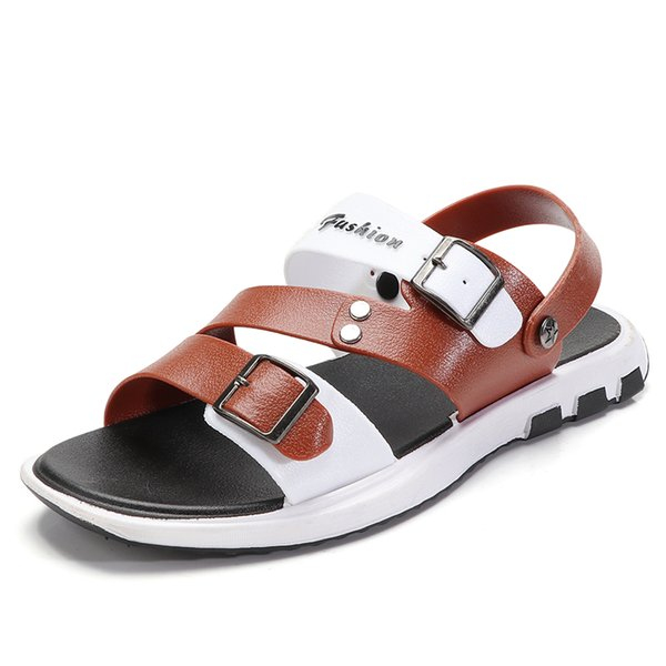 Hot Sale-Vietnamese slippers Summer male non-slip of personality students wild beach word drag men's dual-use sandals