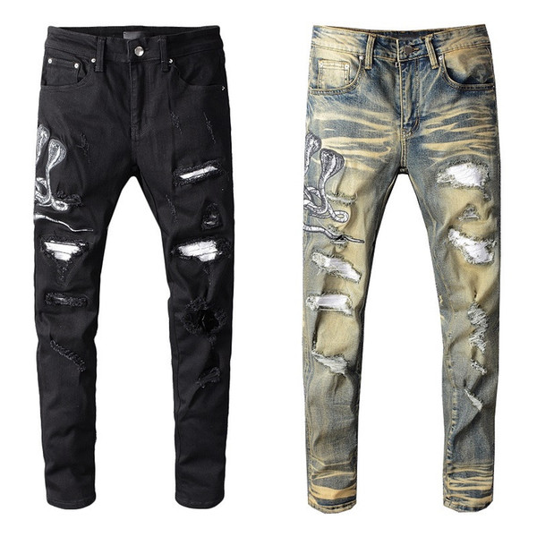 top popular Famous Mens Jeans Mens Ripped Skinny Slim Elastic Denim Fit Biker Jeans Fashion Fit Zipper Ripped Pants Casual Hip Hop Trousers 2020