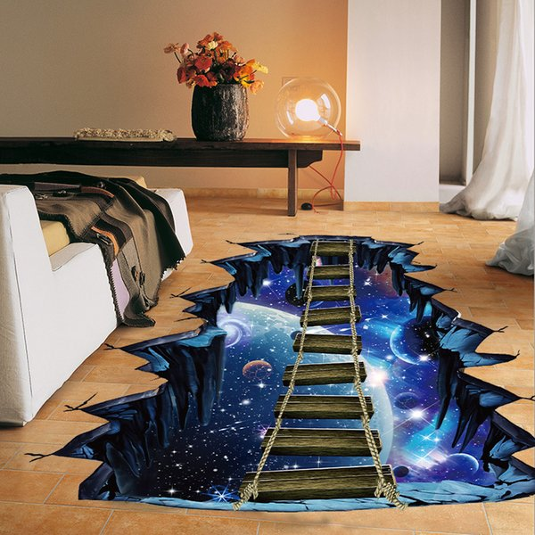 3D Cosmic Space Wall Sticker For Kids Rooms Home Decor Living Room Galaxy Star Bridge Art Mural Self-adhesive Floor Wall Decals