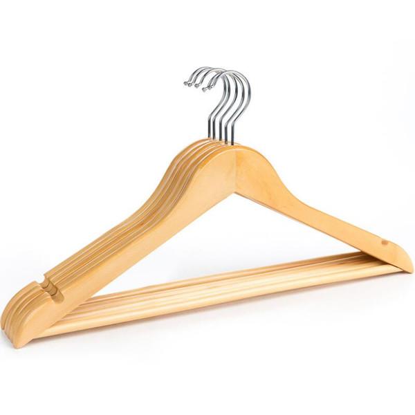 Perchas de madera natural Perchas Perchas para ropa seca y húmeda Paño doble Estante de propósito Antideslizante Soportes de almacenamiento Suministros