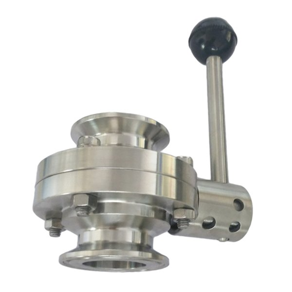 top popular Port Size 51mm Tri Clamp Sanitary Butterfly Valve Stainless Steel with Pull Handle 2021
