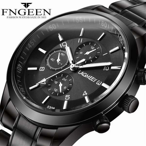 Männer Black Metal Watch Business Edelstahl Armbanduhren Mode männlich schwarz Armband Uhr Sport wasserdicht