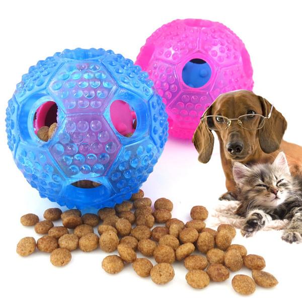 Puppy Dog Cat Food Dispenser Ball Silicone Sound Pet Dog Golden Retriever Interactive chew ball toy