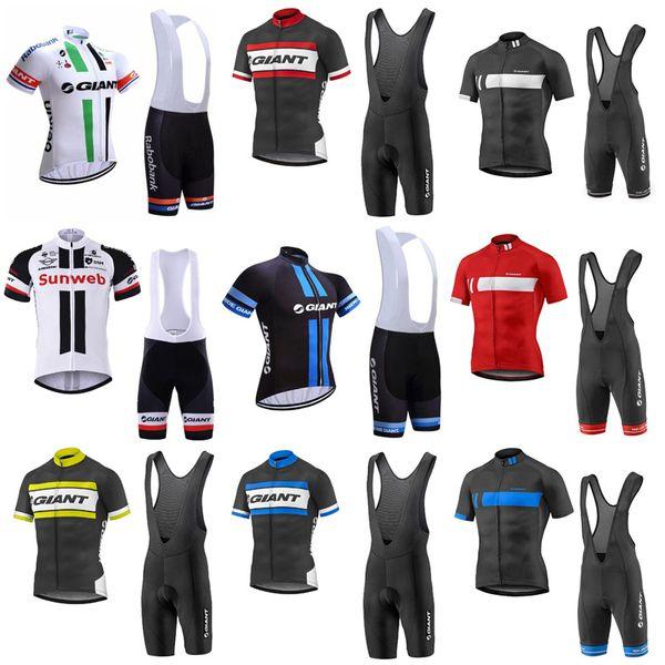 Maillot (bib) de cyclisme à manches courtes de l'équipe GIANT définit les vêtements pour hommes de style cool de cyclisme sur route de course mode respirant