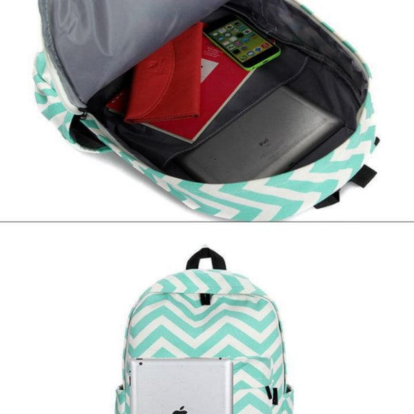 Classical Sriped Canvas Backpack for Teenage Girls Print Strip Candy Color Zipper Women School Bag Big Travel Lady Backpack