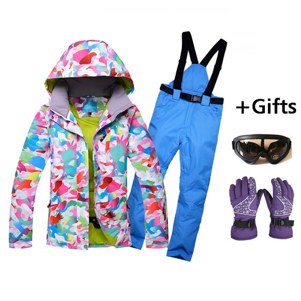 New High Quality Women Skiing Jackets And Pants Snowboard sets Thick Warm Waterproof Windproof Winter female Ski suit