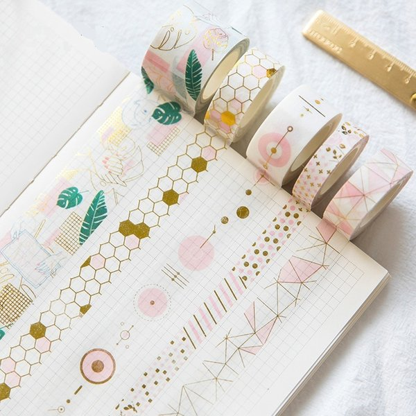 2019 Fresh Pink Gold Washi Tape Set Diy Decorative Scrapbooking Sticker Planner Masking Adhesive Label Drop Shipping