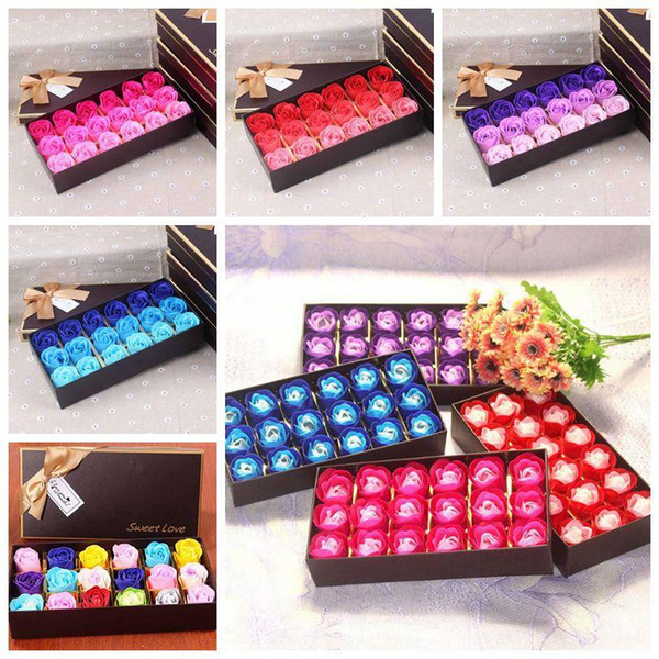 18pcs/set Romantic Rose Soap Flower Heads Artificial Flowers Bathing Petals Box For Valentine's Day Gifts Cartoon Accessories CCA11020 50set