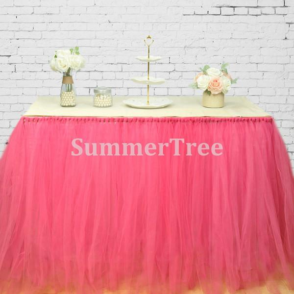 Fuchsia 100cm Tulle Table Skirt Wonderland Table Tutu Battiscopa matrimonio compleanno Baby Shower Home banchetto Decorazione del partito