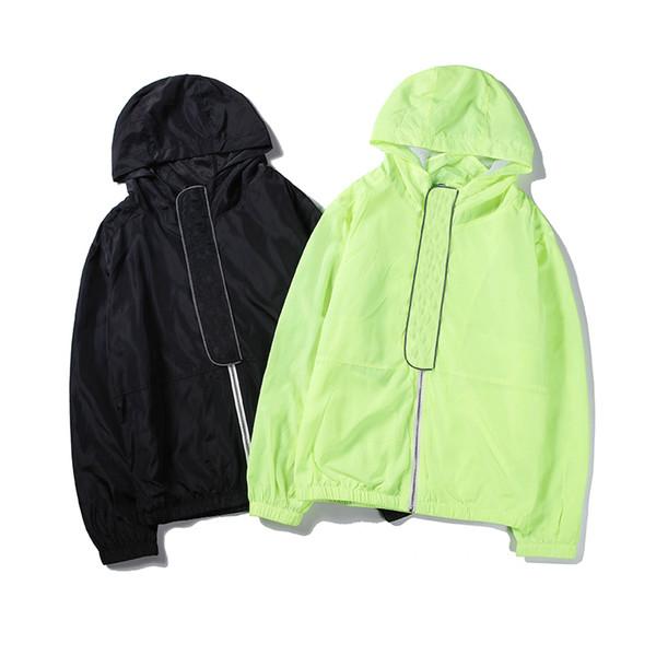High Fashion Brand Mens Womens Jackets Green Black Pure Color Zipper Letter Print Windbreaker Casual M-2XL Top Quality B100240V