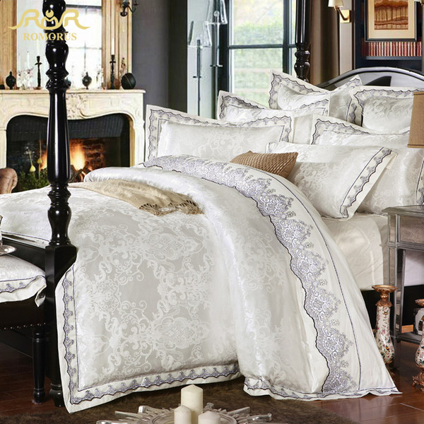 ROMORUS 4/6 pcs White Satin Jacquard Silk Luxury Bedding Set King Queen Size 100% Cotton Gold Bed Set Lace Duvet Cover Sheet Set