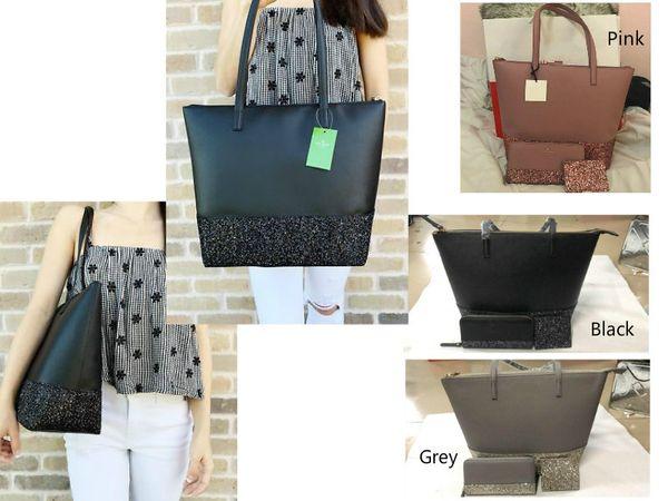 Bolsos de diseño de lujo famosa marca de viaje bolsas de viaje bolsas de mano bolso de embrague de gran capacidad buena calidad cuero de la PU 3 piezas brillo bolso conjunto