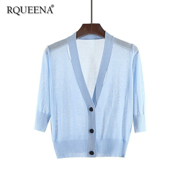 Korean Style Summer Cardigan Women V-Neck Half Sleeve High Quality Fashion Short Thin Knitted Office Ladies Summer Cardigans