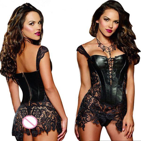 Plus Size Donne In Pelle Vestito Lingerie Corsetti Porno Biancheria Intima Erotica Nightclub Bambole Del Bambino Sexy Sexi Lingerie Prodotto Del Sesso Caldo D18120802