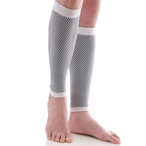 2PCS alta Elastic Leg Sleeve aptidão que funciona Suporte Calf Camping Compression Socks Exercício Caminhadas Proteja Pattern Stripe macia