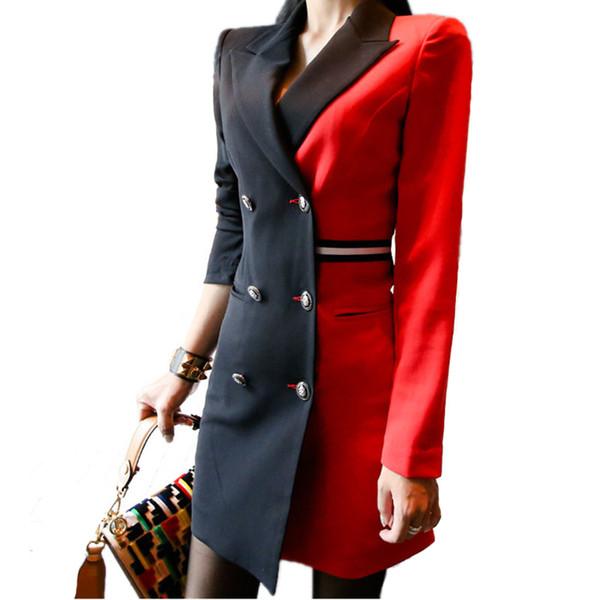 Herbst frauen vintage patchwork anzug jacke zweireiher blazer mantel büro dame langarm lange blazer dress oberbekleidung