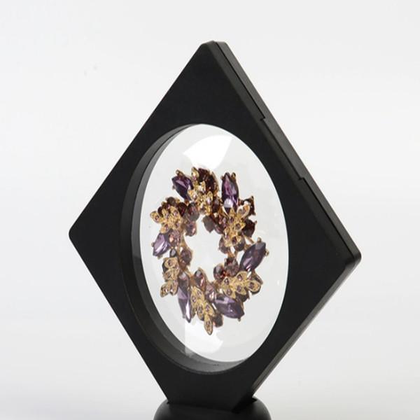 90 * 90*20 мм ясно ПЭТ мембраны box стенд держатель плавающей витрина серьги драгоценные камни кольцо ювелирных изделий подвеска упаковка коробка