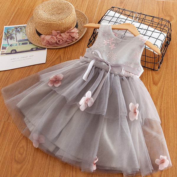 Flower Girls Embroidery Dress Toddler Girls Summer Party Appliques Ball Gown Baby Kids Casual Clothing Size 2 4 6 Years