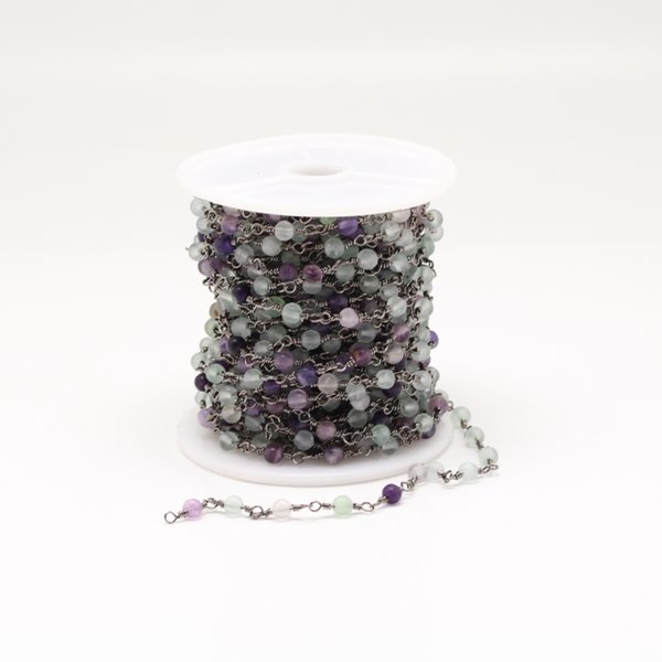 Smooth Natural Fluorite Round Beads Chain Jewelry,Gun Black Plated Rosary Chain Bracelet,4mm,5 Meters