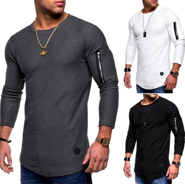 best selling New Mens Designer Tshirts Spring And Autumn Long Sleeved Zipper Curved Long Line T Shirt Tops Clothing Top Quality
