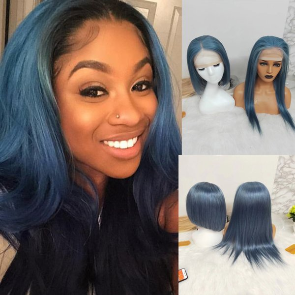 Blue Pre Plucked Peruvian Virgin Human Hair Straight Wig With Baby Hair Lace Front Wigs 150% Density Full Lace Wigs